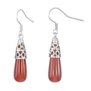 "925 Sterling Silver 1-1/2"" Red Agate Earrings"